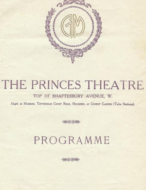 A programme from The Princes Theatre
